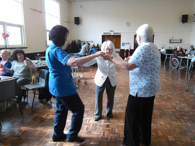 JILLIAN HAVING A DANCE WITH MARGARET AND ONE OF THE CENTRE VOLUNTEERS.JPG