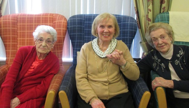 Cathy Struthers and smiling residents